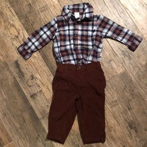 Brown flannel  and corduroy pant outfit (9 mon)